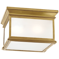 Club Large Square Flush Mount in Antique-Burnished Brass with Frosted Glass