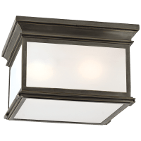 Club Large Square Flush Mount in Bronze with Frosted Glass