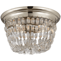 Paris Flea Market Medium Flush Mount in Polished Silver with Seeded Glass
