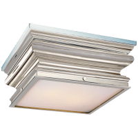 Square Flush Mount in Polished Nickel with Frosted Glass