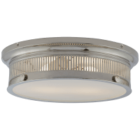 Alderly Flush Mount in Polished Nickel with White Glass