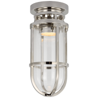Gracie Tall Flush Mount in Polished Nickel with Clear Glass