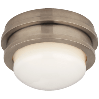 """Launceton 5"""" Solitaire Flush Mount in Antique Nickel with White Glass"""
