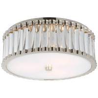 """Kean 14"""" Flush Mount in Polished Nickel with Clear Glass Rods and Frosted Glass Diffuser"""