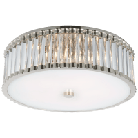 """Kean 18"""" Flush Mount in Polished Nickel with Clear Glass Rods and Frosted Glass Diffuser"""