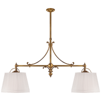 Sloane Double Shop Pendant in Antique-Burnished Brass with Linen Shades