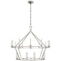 Darlana Large Two-Tiered Ring Chandelier in Polished Nickel