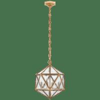 Zeno Medium 18 Facet Hedron Lantern in Gilded Iron with Antique Mirror