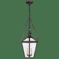 Evaline Medium Lantern in Bronze with Clear Glass