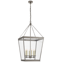 Launceton Large Square Lantern in Antique Nickel with Clear Glass