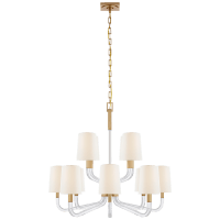 Reagan Medium Two Tier Chandelier in Antique-Burnished Brass and Crystal with Linen Shades