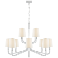 Reagan Grande Two Tier Chandelier in Polished Nickel and Crystal with Linen Shades