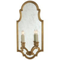 Sussex Medium Framed Double Sconce in Antique-Burnished Brass with Antique Mirror
