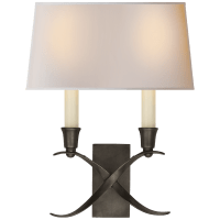 Cross Bouillotte Small Sconce in Bronze with Natural Paper Shade