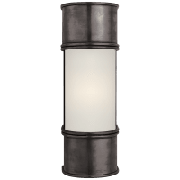 """Oxford 12"""" Bath Sconce in Bronze with Frosted Glass"""