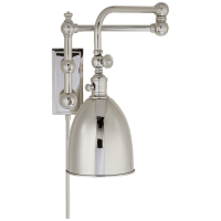 Pimlico Double Swing Arm in Polished Nickel with Polished Nickel Shade
