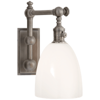 Pimlico Single Light in Antique Nickel with White Glass