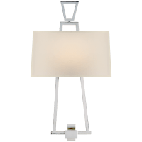 Modern Darlana Bouillotte Sconce in Polished Nickel with Natural Paper Shade