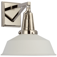 "Layton 10"" Sconce in Polished Nickel with Matte White Shade"