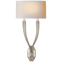 Ruhlmann Double Sconce in Antique Nickel with Natural Paper Shade