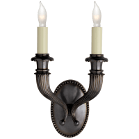 Fluted Horn Double Sconce in Bronze
