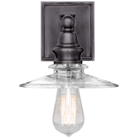 Covington Shield Sconce in Bronze with Clear Glass