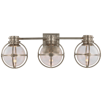 Gracie Triple Sconce in Antique Nickel with Clear Glass
