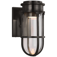Gracie Tall Bracketed Sconce in Bronze with Clear Glass