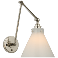 Parkington Double Library Wall Light in Polished Nickel with White Glass