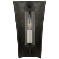 Downey Small Reflector Sconce in Stained Black Metallic and Aged Iron with Clear Glass