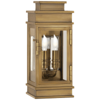 Linear Mini Wall Lantern in Antique-Burnished Brass with Clear Glass