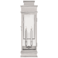 Linear Large Wall Lantern in Polished Nickel with Clear Glass