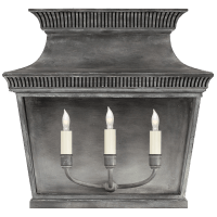 Elsinore Extra Wide 3/4 Lantern in Weathered Zinc with Clear Glass