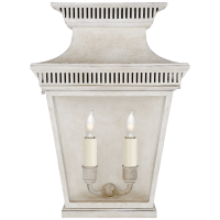 Elsinore Medium 3/4 Wall Lantern in Old White with Clear Glass