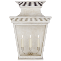 Elsinore Large 3/4 Wall Lantern in Old White with Clear Glass
