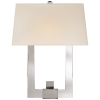 Edwin Double Arm Sconce in Crystal and Polished Nickel with Silk Shade