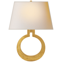Ring Form Large Wall Sconce in Gild with Natural Paper Shade