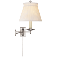 Dorchester Swing Arm in Antique Nickel with Silk Crown Shade