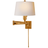Chunky Swing Arm in Antique-Burnished Brass with Natural Paper Shade