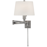 Chunky Swing Arm in Antique Nickel with Linen Shade