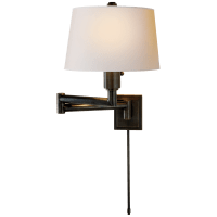 Chunky Swing Arm in Bronze with Natural Paper Shade