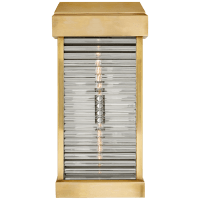 Dunmore Large Curved Glass Louver Sconce in Antique-Burnished Brass with Clear Glass
