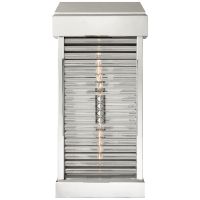 Dunmore Large Curved Glass Louver Sconce in Polished Nickel with Clear Glass
