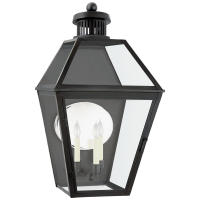 Stratford Large 3/4 Wall Lantern in Blackened Copper with Clear Glass