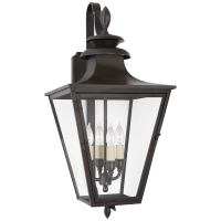 Albermarle Small Bracketed Wall Lantern in Blackened Copper with Clear Glass