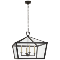 Darlana Medium Wide Hanging Lantern in Bronze with Clear Glass