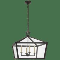 Darlana Medium Wide Hanging Lantern in Bronze with Clear Glass