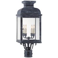 Suffork Post Lantern in Weathered Zinc with Clear Glass