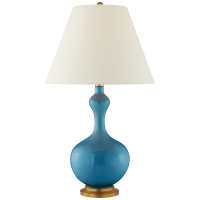 Addison Large Table Lamp in Aqua Crackle with Natural Percale Shade