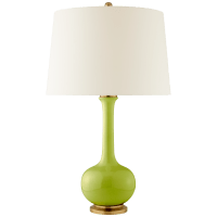 Coy Medium Table Lamp in Lime with Natural Percale Shade
